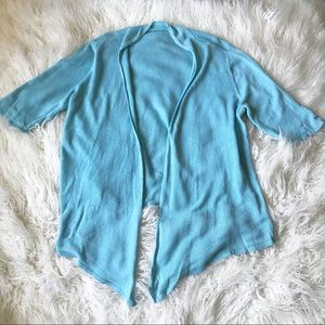 Eileen Fisher short sleeve blue linen cardigan